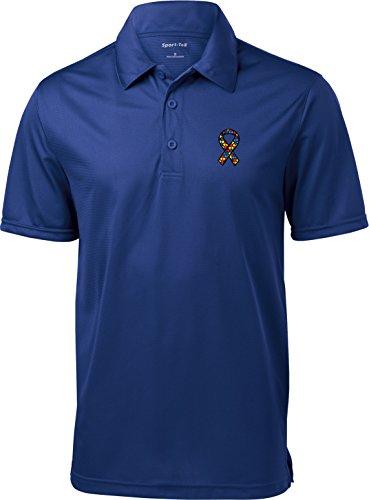 Buy Cool Shirts Autism Ribbon Pocket Print Mens Textured Polo, Royal, Large