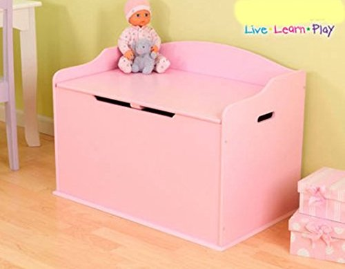 Toy Box, Functional, Pink, Safety Hinge on Lid Protects Young Fingers from Getting Pinched, Made of Wood, Doubles as a Bench for Additional Seating, Easy to Put Together, BONUS FREE E-book by Home X Style