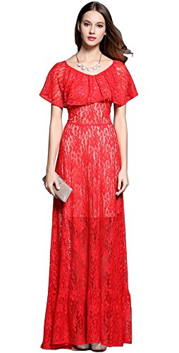 [Merope J Womens Mother of Bride Long Lace Flouncing Collar Wedding Dress(8,Red)] (Lucille Ball Costumes For Halloween)