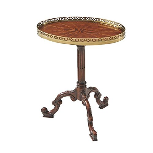 English Georgian America George III Style Parquetry Oval Side Table with Gilt Gallery and a Stop Fluted Pedestal Base
