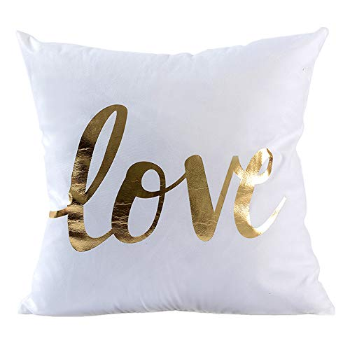 Kingla Home Decorative Throw Pillow Covers Golden Love White Pillow Cases 18x18 inch Square Couch Cushion Covers