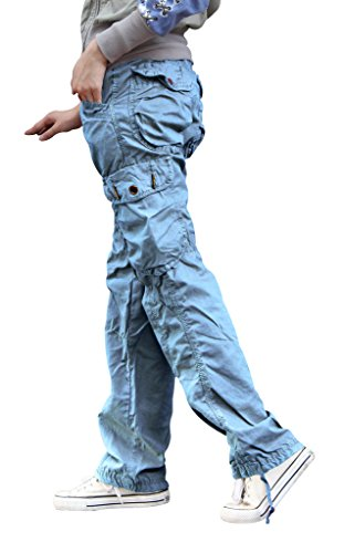Women's Casual Cargo Pants Solid Military Army Styles Cotton Trousers Sky Blue (Solid Trouser Pant)