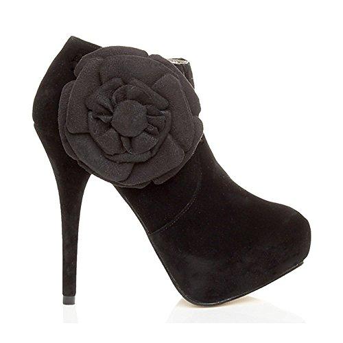 boots flower Black heel ladies Womens ankle size platform zip high Ajvani booties shoe 74vYw