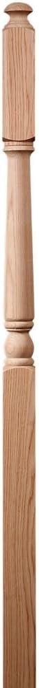 "#1641 rot Oak 3"" X 48"" Traditional 10"" obere Block Newel"