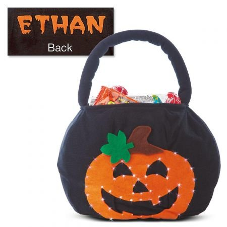 "Lillian Vernon Blinking Pumpkin Personalized Halloween Treat Bag – Light Up Trick or Treat Tote & Candy Basket for Kids, 100% Polyester, 9"" x 9"" x 7.5"