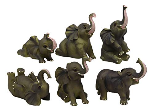 - Ebros Gift African Savanna Safari Whimsical Cute Baby Elephant Calves Miniature Set of 6 Figurines 3.5