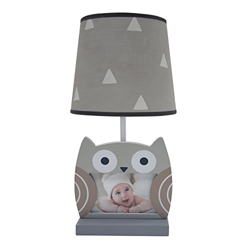 Bedtime Originals Little Rascals Owl Picture Frame Lamp with Shade & Bulb, Gray/White Baby Lamb Photo Frame