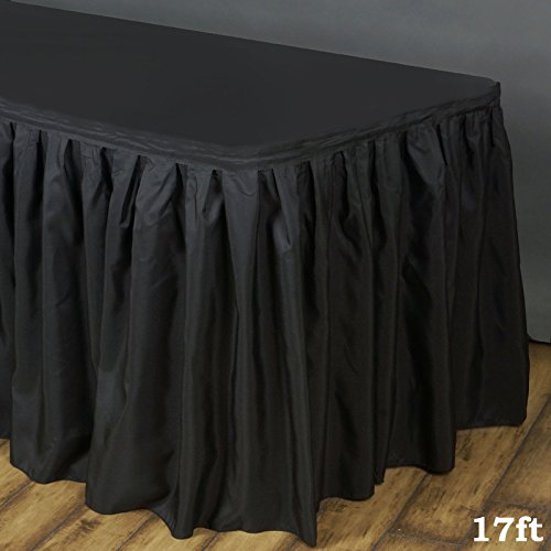 Efavormart 17ft Black Accordion Pleat Polyester Table Skirt for Kitchen Dining Catering Wedding Birthday Party Decorations Events