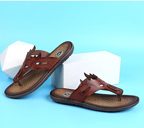 Casual Rubber Slippers Dark Long Flops Microfliber Brown Comfort Lasting Flip U MAC Sandals Leather Men's Classical Oz1w6vq