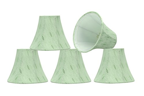 "Aspen Creative 30058-5 Small Bell Shape Chandelier Clip-On Lamp Shade Set (5 Pack), Transitional Design in Light Green, 6"" bottom width (3"" x 6"" x 5"")"