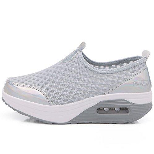 choc Running Sport De Anti 8 Marcher Compensées Respirantes Femme Gym Chaussures Casual Fitness Gris Baskets BtwdH5nqt