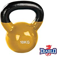 DIABLO Yellow Powder Coated Solid Cast Iron Kettlebell Weights (Weight 10KG)