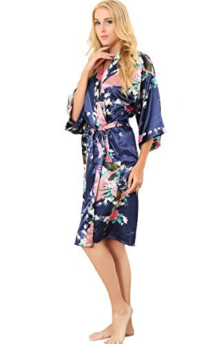 14bf902df9 ALLINLOVER Women s Floral Kimono Robe Silk Peacock Printing Soft Breathable  for Bride and Bridesmaids Nightgown