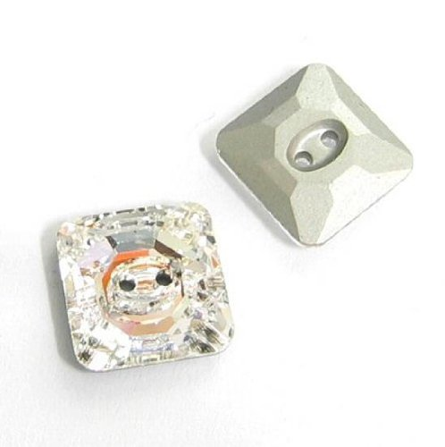 - 2 pcs Swarovski Crystal 3017 Square Button Beads Clear Silver Foiled 12mm / Findings / Crystallized Element