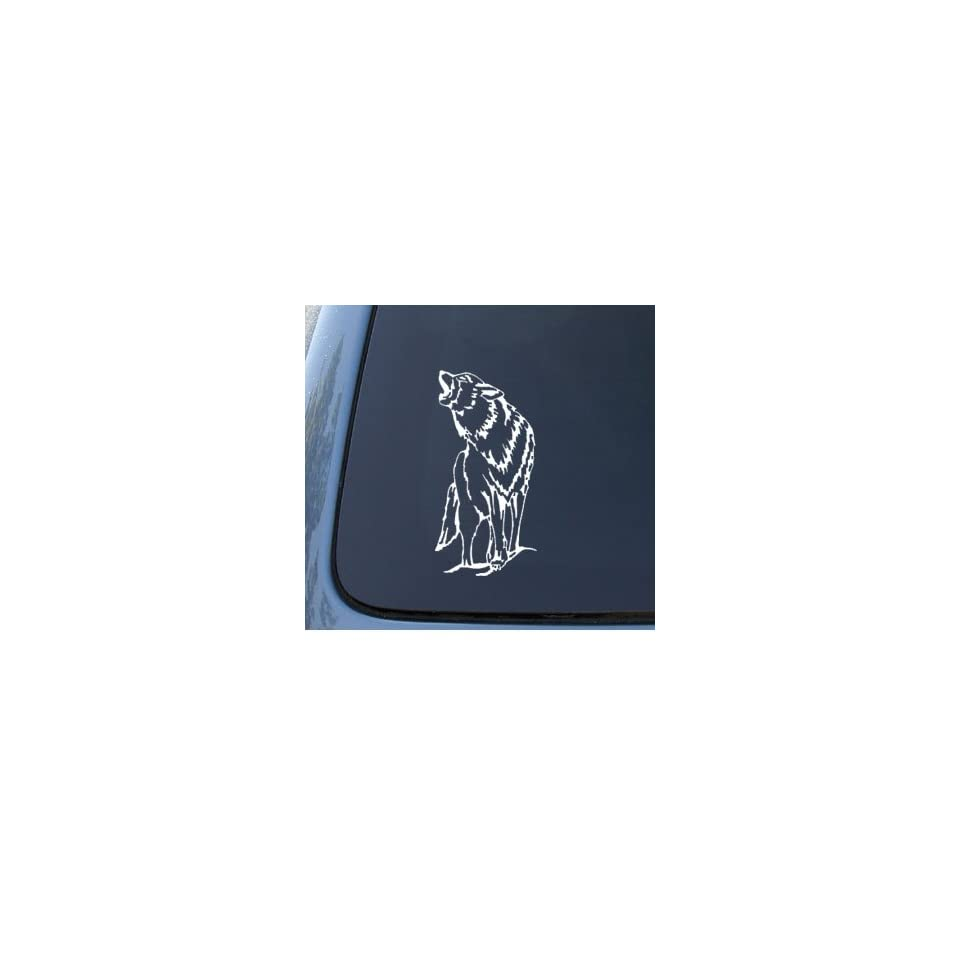 WOLF SILHOUETTE   Howling   Car, Truck, Notebook, Vinyl Decal Sticker #1184  Vinyl Color White