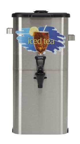 "Wilbur Curtis Iced Tea Dispenser 4.0 Gallon Tea Dispenser, Oval 19""H - Designed to Preserve Flavor - TCO419A000 (Each) - Oval Iced Tea Dispenser"