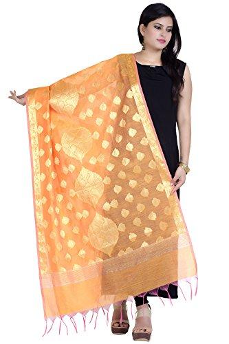 Chandrakala Women's Handwoven Zari Work Banarasi Dupatta Stole Scarf (Orange) by Chandrakala (Image #1)