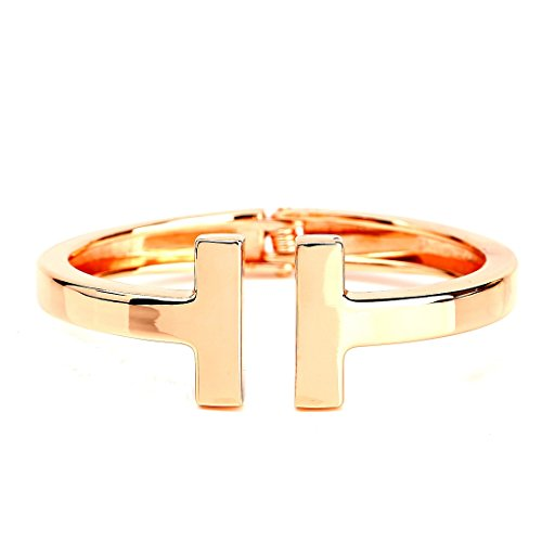 United Elegance - Contemporary Rose Gold Tone Hinged Double T-Bar Cuff Bangle Bracelet from United Elegance
