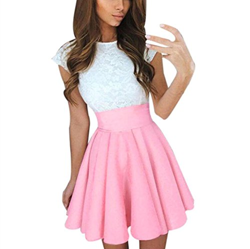 Dress Swing A Lace Line Women's Cocktail Party BSGSH Cap Mini Sleeve Elegant Dress Pleated Pink f7BOwq