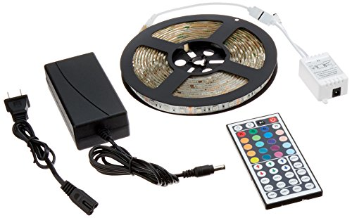 ADX 16.4FT Waterproof Flexible Strip Light Kit, 300 Color Changing RGB LEDs w/ IR Remote Controller and 12V5A Power Supply ()