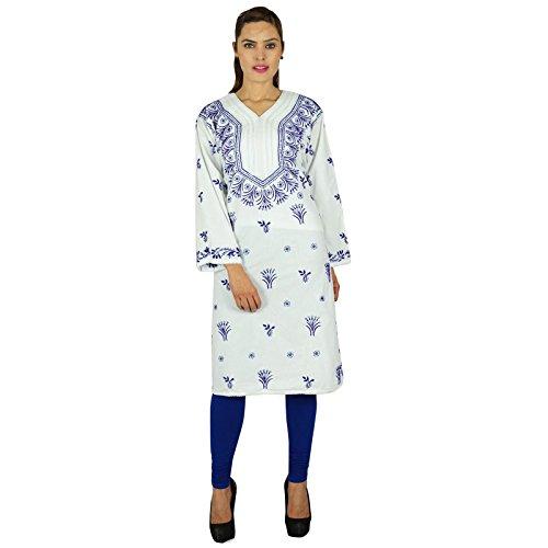 Diseñador Chikan las mujeres bordadas indias étnico vestido de la túnica de algodón Casual Kurti De blanco y de los azul