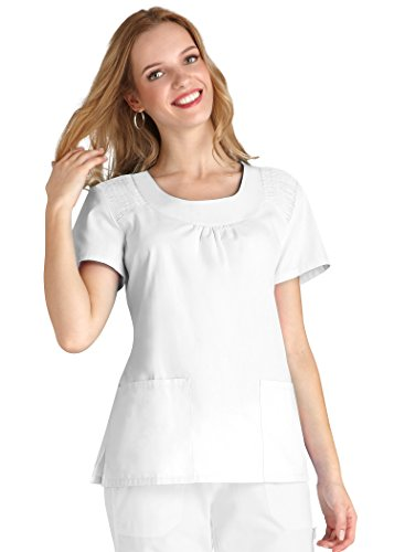Together Embroidered Top (Adar Medical Women's Scoop Neck Smocked Solid Top - 627 - White - XL)