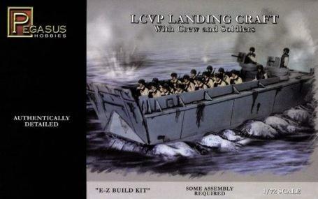 - LCVP Landing Craft w/Pre-Painted Water Base, 15-Soldiers & 3-Crew (Snap Kit) 1-72 Pegasus