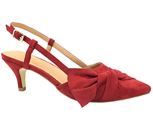 Heel Suede Pumps (Greatonu Women Court Shoes Sexy Closed Toe Kitten Heels Red Comfortable Slingback Dress Pumps Size 9)