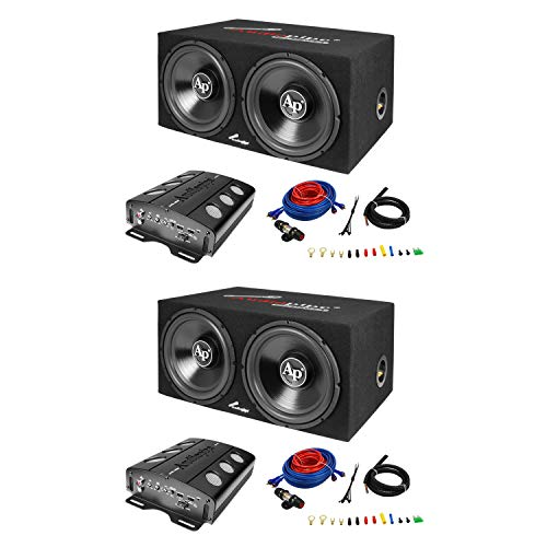 Audiopipe Loaded Dual 12 Subs Amp and Wire Kit Car Audio Pac