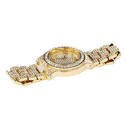 Men's Iced Out 45mm Gold Casual Iced Out Diamond Watch | Japanese Quartz | Analog Display | Adjustable Links