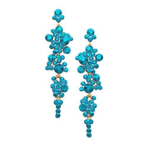 Aqua Blue Rhinestone (Rosemarie Collections Women's Crystal Rhinestone Bubble Dangle Statement Earrings (Aqua Blue/Gold Tone))
