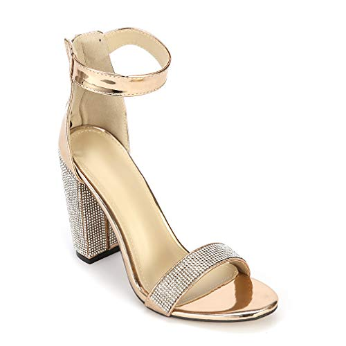 ARIES Womens Ankle Strap Chunky Block High Heel Sandals Cute high Heels 9.5 B(M) US Golden ()
