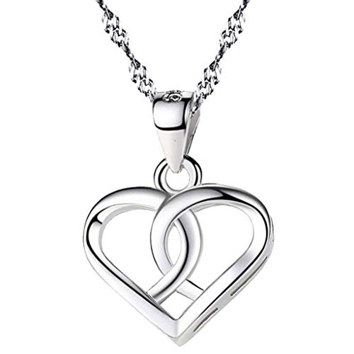 Sterling Silver Twisted Heart Shaped Pendant Intertwined Necklace 18