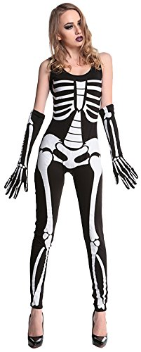 Wanture Women's Printed Glow-In-The-Dark Skeleton (Womens Skeleton Costume Glow Dark)