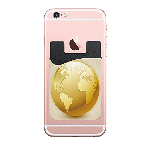 - Vivid Style Earth Icon in Yellow Color World Sphere Global International Theme,Yellow Beige Fashion 2 PCS Phone Card Holder, Card Holder Compatible with Most Smartphones