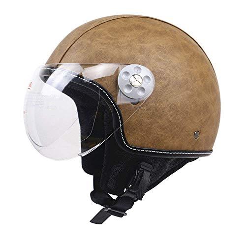 Legal Leather Street (Shfmx Motorcycle Crash Half Helmet, Motorcycle Helmet Sunscreen Visor Fast Buckle DOT Wholesale Men and Women Half face Riding Helmet,L)