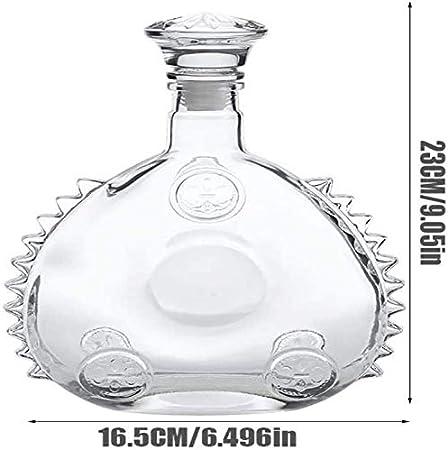 XinLuMing Louis XIII Botella de Vino vacía, coñac o Whisky 1920er, decantador, Botella de Vino de Vidrio Sellado con Tapa, Escultura de 750 ml de Borde de Hielo (Color : A)