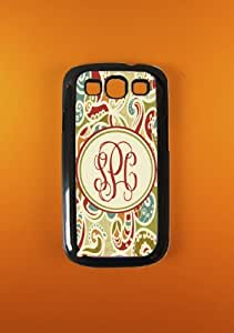 Monogram Samsung Galaxy S3 Case - Paisley Monogrammed Samsung Galaxy S3 Cover, Customized
