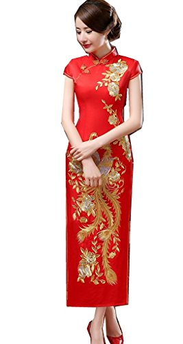 Shanghai Story Phoenix Embroidery Oriental Styled Dresses Long Cheongsam 6 Red by Shanghai Story