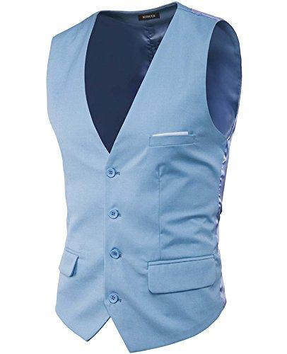Solid Satin Stylish (Nidicus Mens Formal Satin V-Neck 4 Button Solid Tuxedo Modern Stylish Suit Vest Light Sky Blue L)