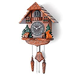 Polaris Clocks Large Cuckoo Clock with Night Option, Quartz Movement and Hand Carved Decorations in Black Forest Style (Brown)