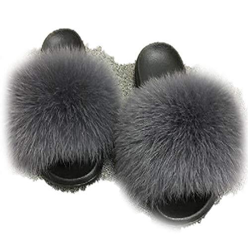 Winter Plush Slippers Indoor Furry Home Shoes Warm Fox Fur Women Slides Flip Flops Fluffy Sandals Dark Gray 7.5