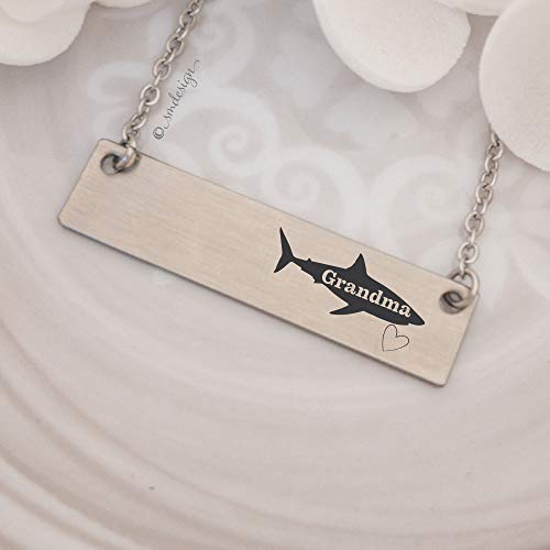 Grandma Shark Bar Necklace - Gifts For Grandma For Mother's Day, Valentine's Day, Birthday, Anniversary Gift Idea Jewelry Wife