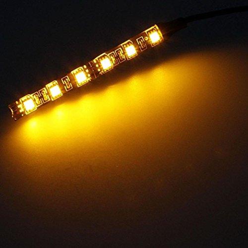Glumes Universal 2pc 6LED Motorcycle Bike Amber LED Mini Strip Black Turn Signal Indicator Blinker with Total 12 Led (Amber) Amber Home Appliances