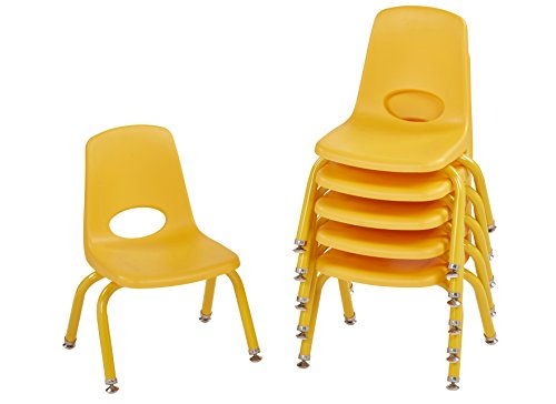 """ECR4Kids 10"""" School Stack Chair with Powder Coated Legs and Nylon Swivel Glides, Yellow (6-Pack)"""
