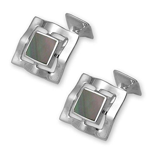 Clip Tie black shell Set Sterling black Cufflinks silver Sterling silver Box Oq81g