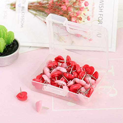 Heart Push Pins Map Thumb Tack Plastic Round Head with Steel Point Assorted Colors for Photos Bulletin Whiteboard or Cork Boards, Crafts, Home, School and Office Organization, 50 PCS ()