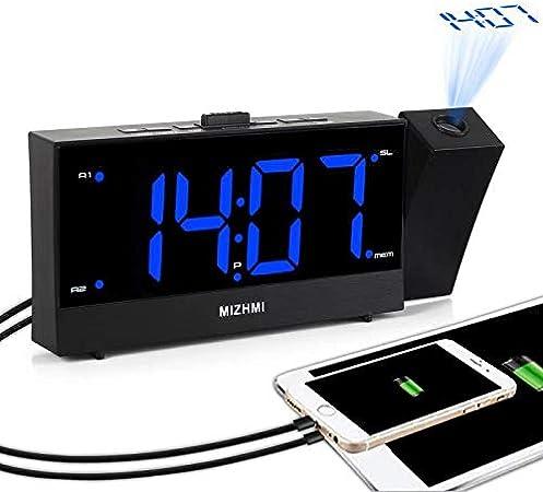 MIZHMI Radio Réveil Digitale Réveil Projecteur Réveil Projection Double Alarme Fonction Snooze 1224H Projection Clock USB pour LED numérique avec