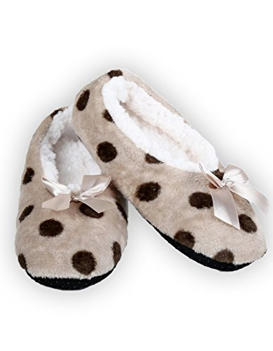 Beige Dots Lining Sherpa Slippers ICONOFLASH Polka Women's Style with Ballet Printed xYY8Tq0v