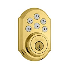 Kwikset 909-L03S Smartcode Touchpad Electronic Deadbolt Smart Key Lifetime Brass Finish